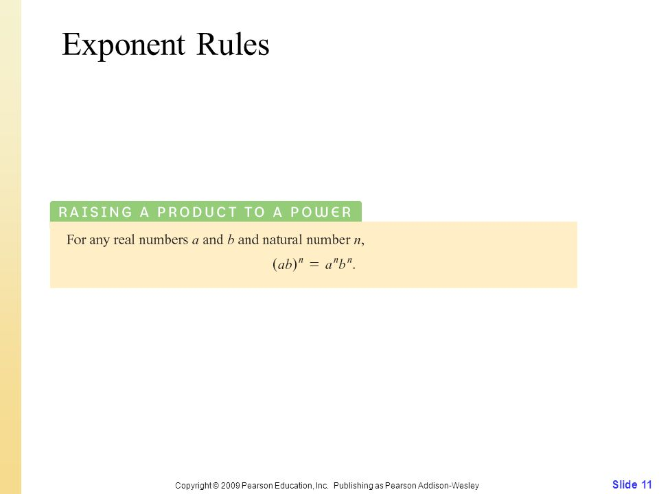 Slide 11 Copyright © 2009 Pearson Education, Inc. Publishing as Pearson Addison-Wesley Exponent Rules