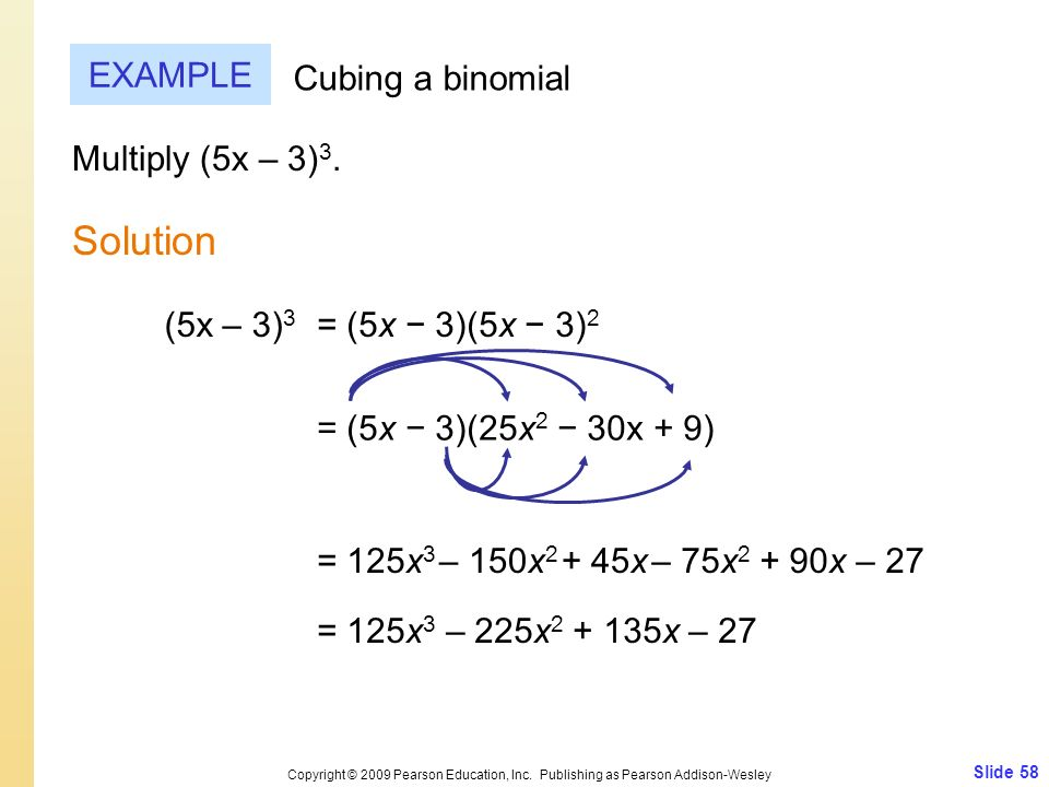 Slide 58 Copyright © 2009 Pearson Education, Inc. Publishing as Pearson Addison-Wesley EXAMPLE Solution Cubing a binomial Multiply (5x – 3) 3. = (5x 3