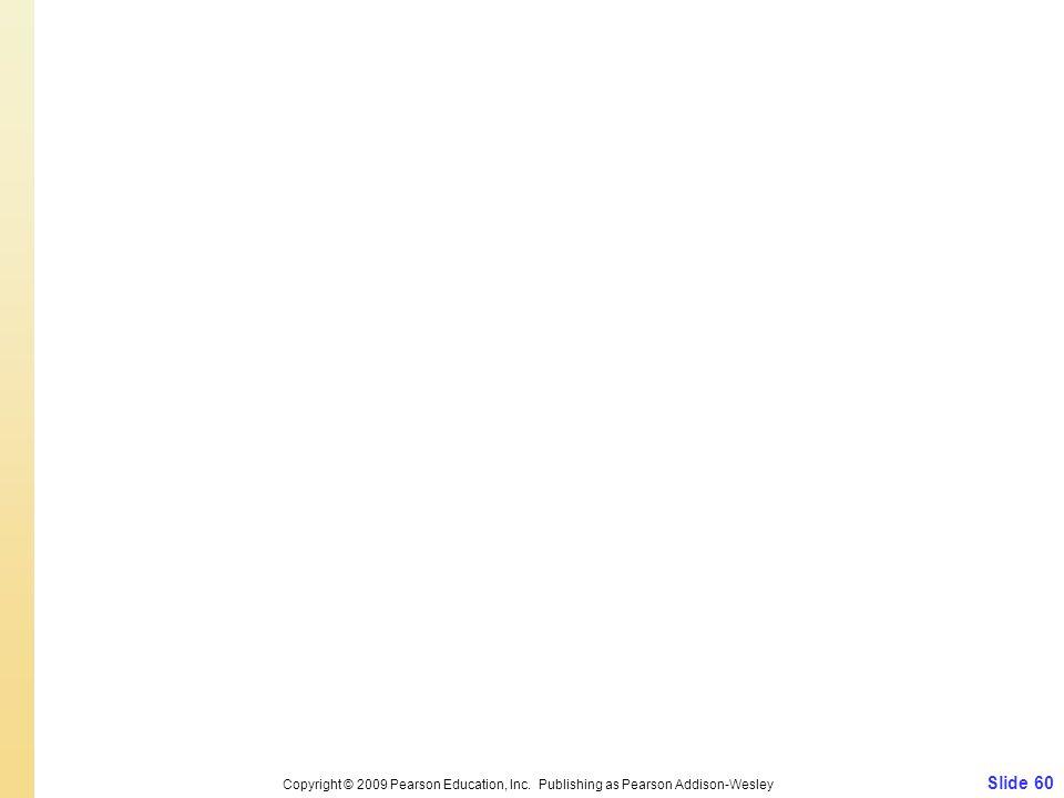 Slide 60 Copyright © 2009 Pearson Education, Inc. Publishing as Pearson Addison-Wesley