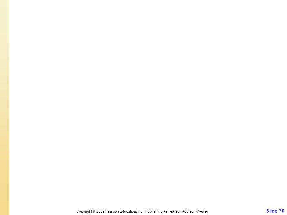 Slide 75 Copyright © 2009 Pearson Education, Inc. Publishing as Pearson Addison-Wesley