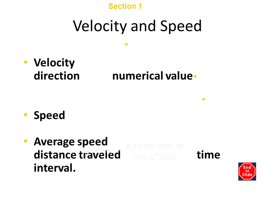 Section 1 Displacement and Velocity Chapter 2 Velocity and Speed Velocity describes motion with both a direction and a numerical value (a magnitude).