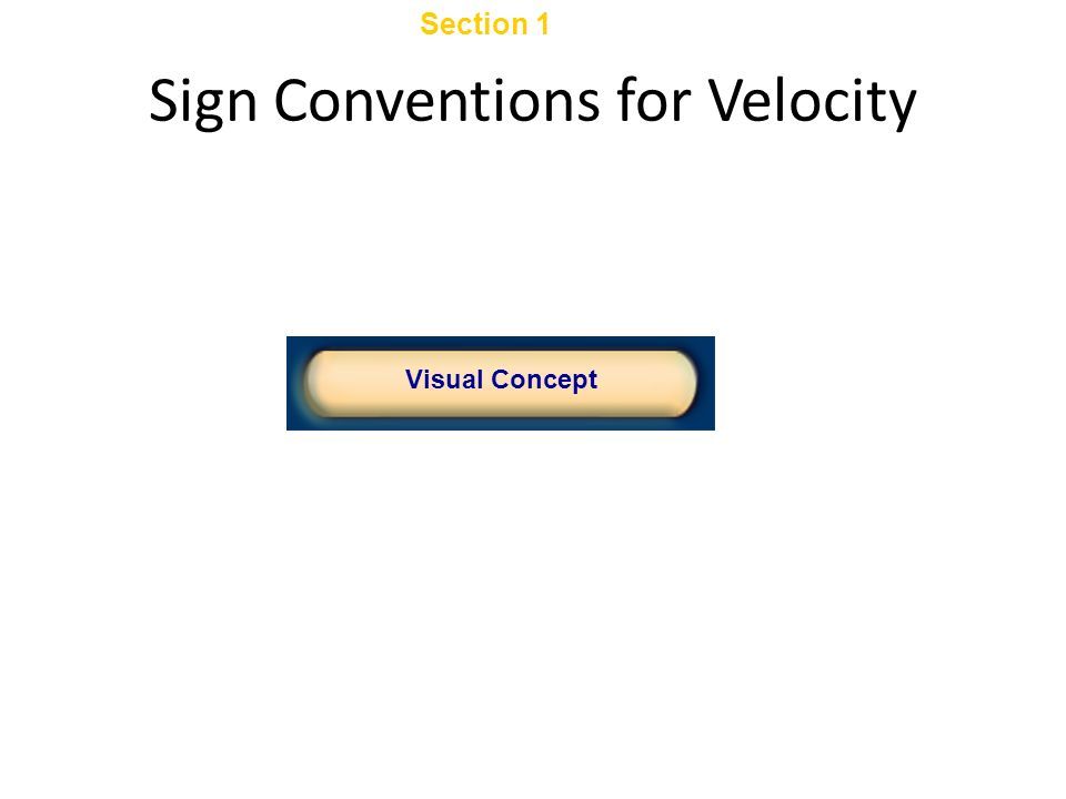 Click below to watch the Visual Concept. Visual Concept Chapter 2 Section 1 Displacement and Velocity Sign Conventions for Velocity