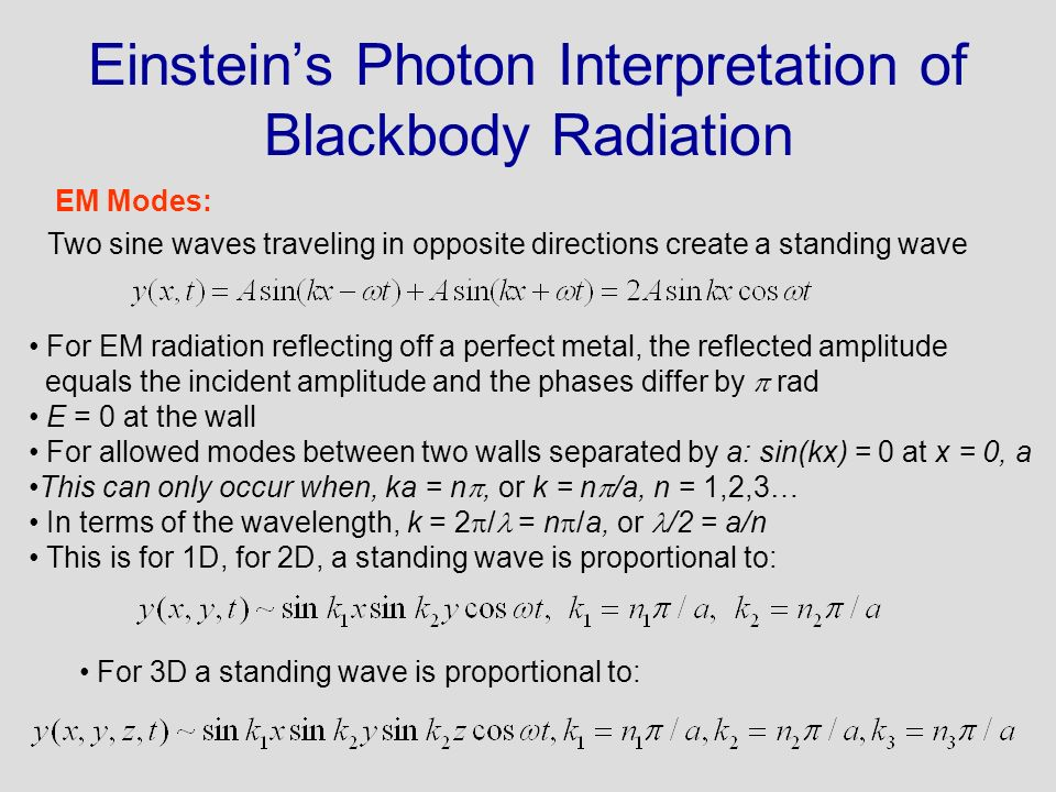 Einsteins Photon Interpretation of Blackbody Radiation Two sine waves traveling in opposite directions create a standing wave For EM radiation reflect