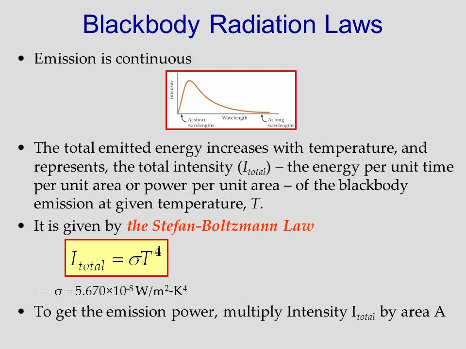 Blackbody Radiation Laws Emission is continuous The total emitted energy increases with temperature, and represents, the total intensity (I total ) –