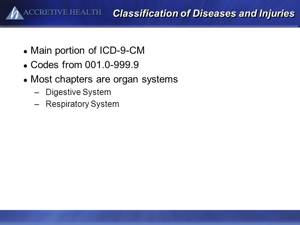 Classification of Diseases and Injuries Main portion of ICD-9-CM Codes from 001.0-999.9 Most chapters are organ systems –Digestive System –Respiratory