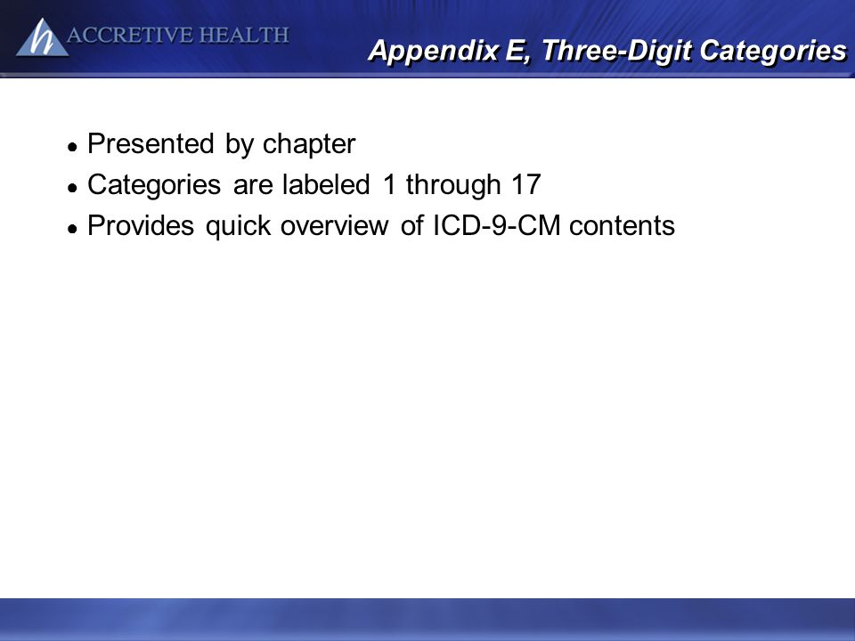 Appendix E, Three-Digit Categories Presented by chapter Categories are labeled 1 through 17 Provides quick overview of ICD-9-CM contents
