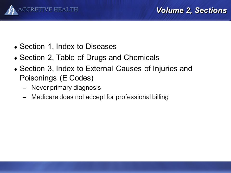 Volume 2, Sections Section 1, Index to Diseases Section 2, Table of Drugs and Chemicals Section 3, Index to External Causes of Injuries and Poisonings