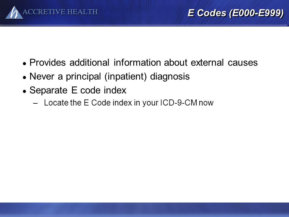 E Codes (E000-E999) Provides additional information about external causes Never a principal (inpatient) diagnosis Separate E code index –Locate the E