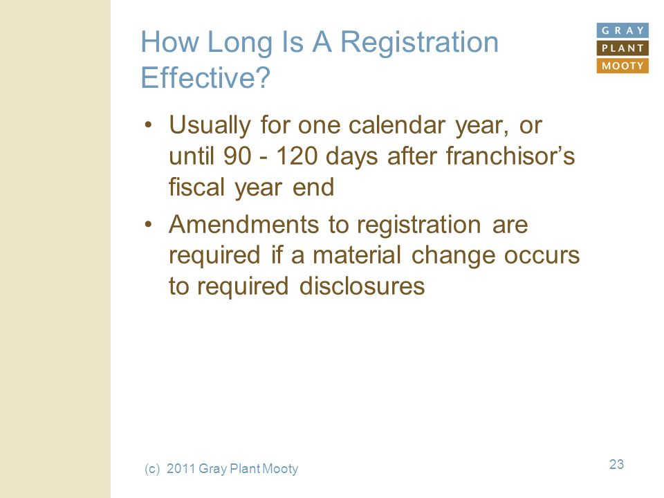 (c) 2011 Gray Plant Mooty 23 How Long Is A Registration Effective.