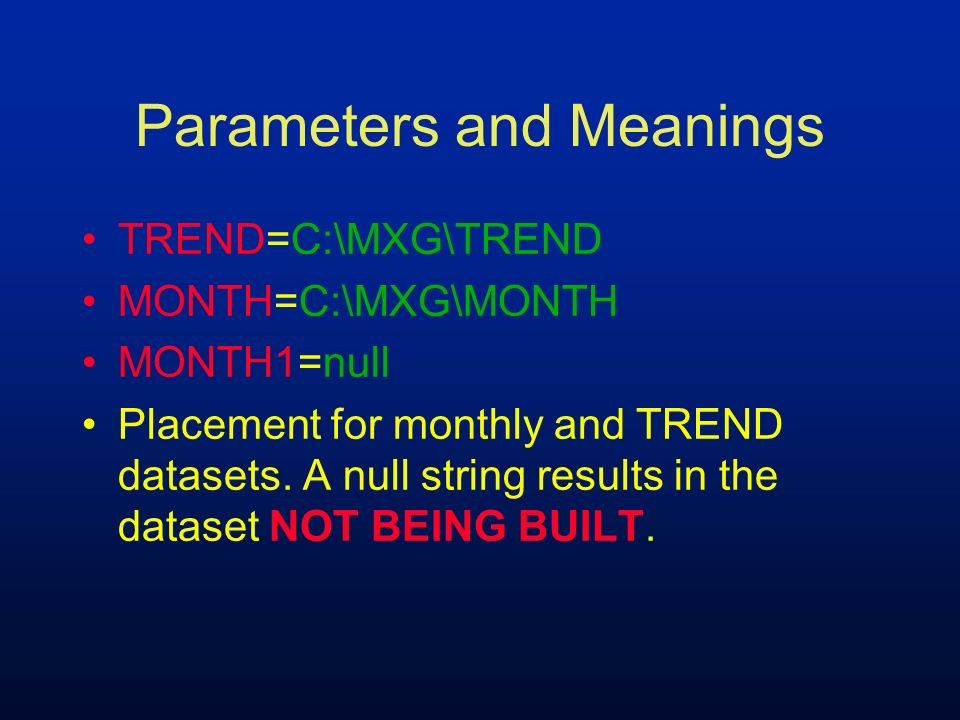 Parameters and Meanings TREND=C:\MXG\TREND MONTH=C:\MXG\MONTH MONTH1=null Placement for monthly and TREND datasets. A null string results in the datas