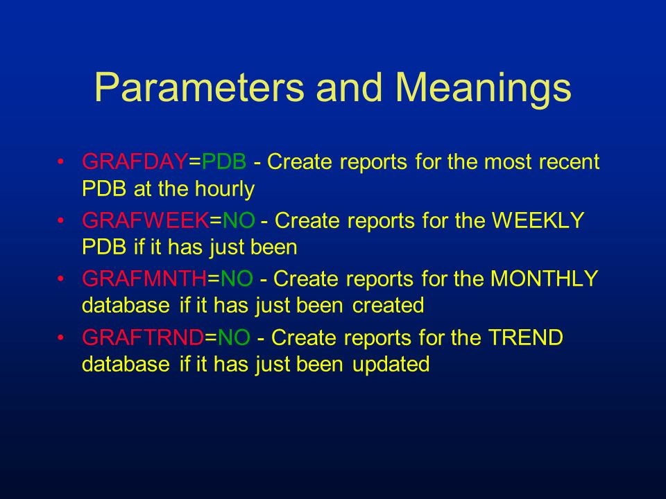 Parameters and Meanings GRAFDAY=PDB - Create reports for the most recent PDB at the hourly GRAFWEEK=NO - Create reports for the WEEKLY PDB if it has j