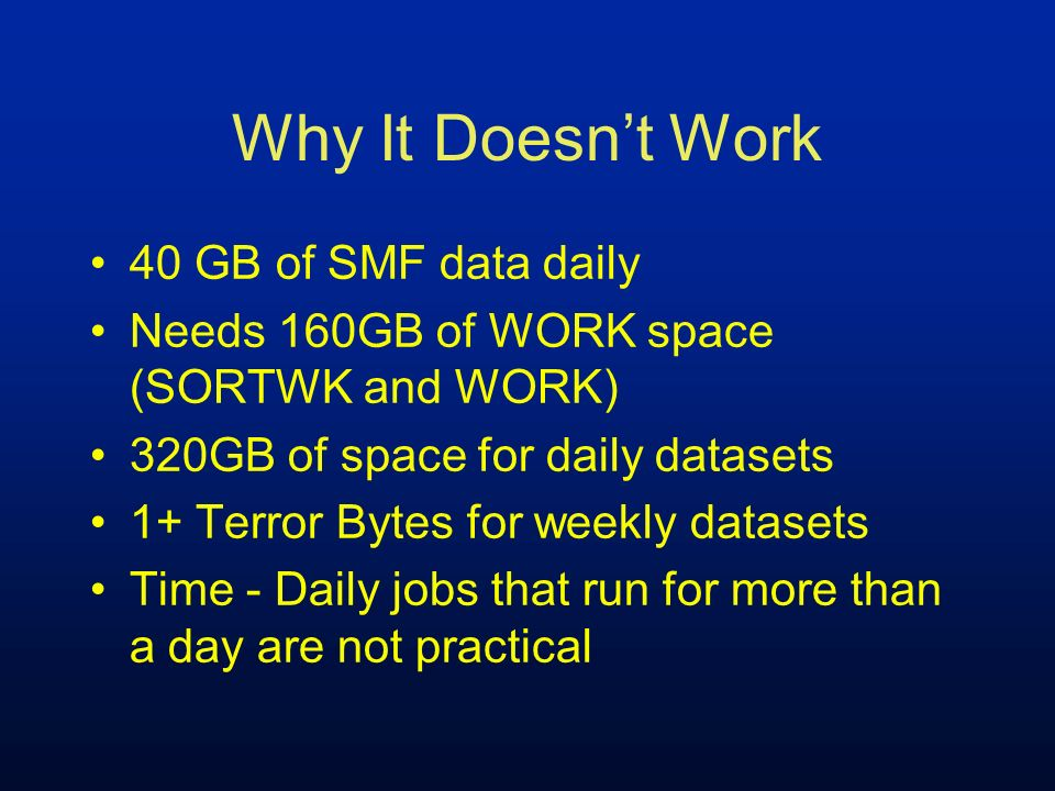 What Needed to Change Multiple Parallel Threads Run week-to-date Run month-to-date Eliminate weekly/monthly jobs Exploit summarization macros where needed to reduce volume