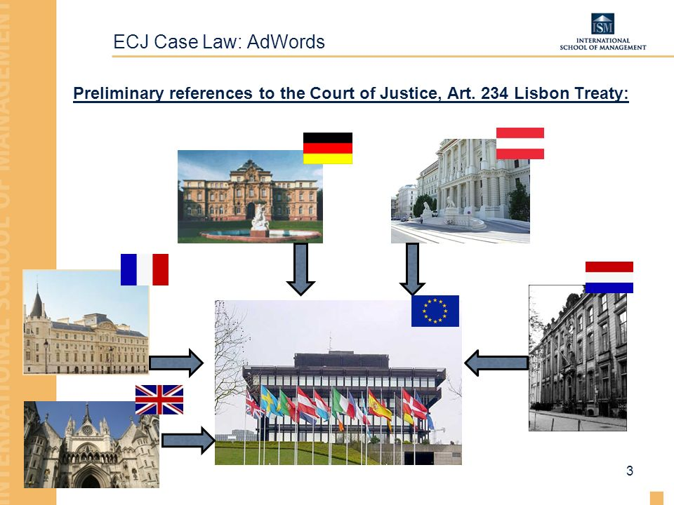 ECJ Case Law: AdWords Preliminary references to the Court of Justice, Art. 234 Lisbon Treaty: 3