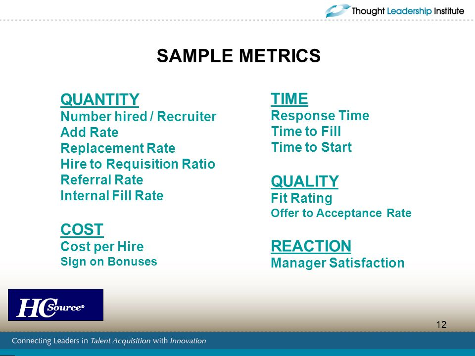 HC Source ® 12 SAMPLE METRICS QUANTITY Number hired / Recruiter Add Rate Replacement Rate Hire to Requisition Ratio Referral Rate Internal Fill Rate C