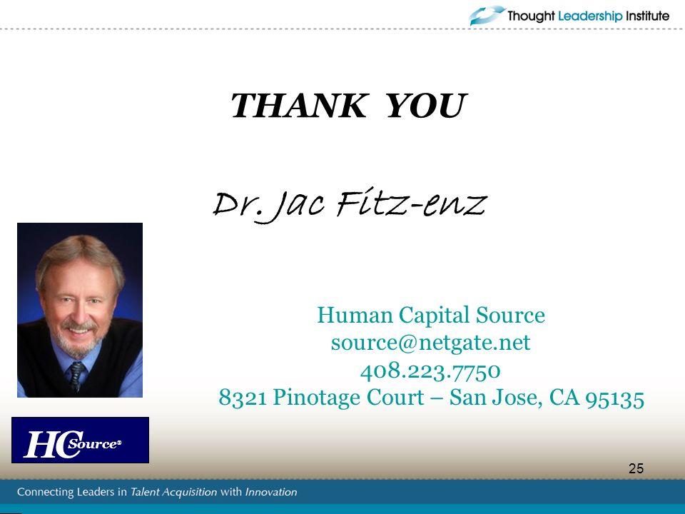 HC Source ® 25 THANK YOU Dr. Jac Fitz-enz Human Capital Source source@netgate.net 408.223.7750 8321 Pinotage Court – San Jose, CA 95135