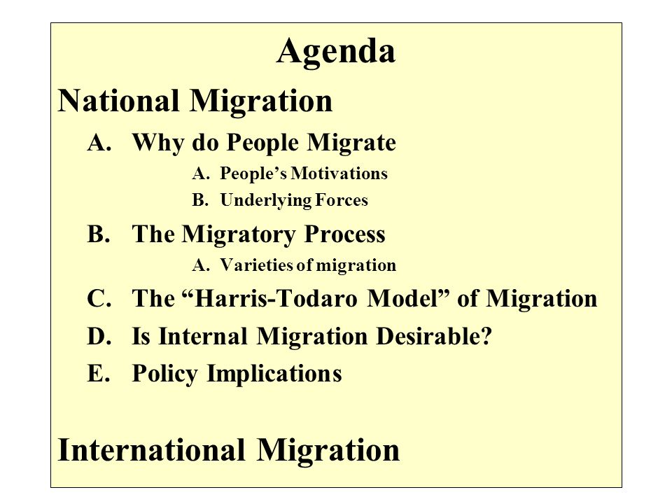 Agenda National Migration A.Why do People Migrate A.Peoples Motivations B.Underlying Forces B.The Migratory Process A.Varieties of migration C.The Har