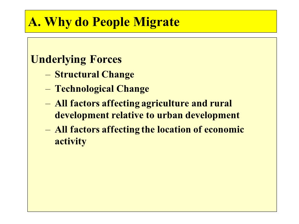 A. Why do People Migrate Underlying Forces –Structural Change –Technological Change –All factors affecting agriculture and rural development relative