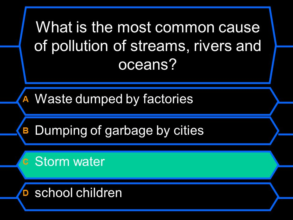 What is the most common cause of pollution in streams, rivers and oceans.