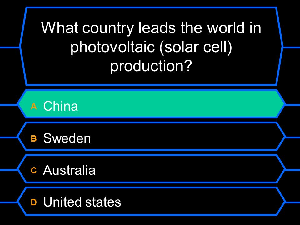 What country leads the world in photovoltaic (solar cell) production.