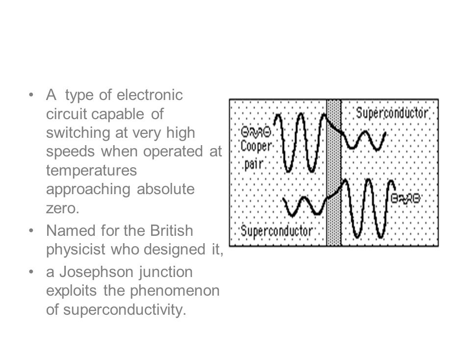 Josephson junctions A type of electronic circuit capable of switching at very high speeds when operated at temperatures approaching absolute zero. Nam