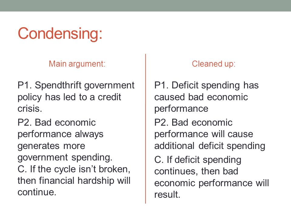 Condensing: Main argument: P1. Spendthrift government policy has led to a credit crisis.