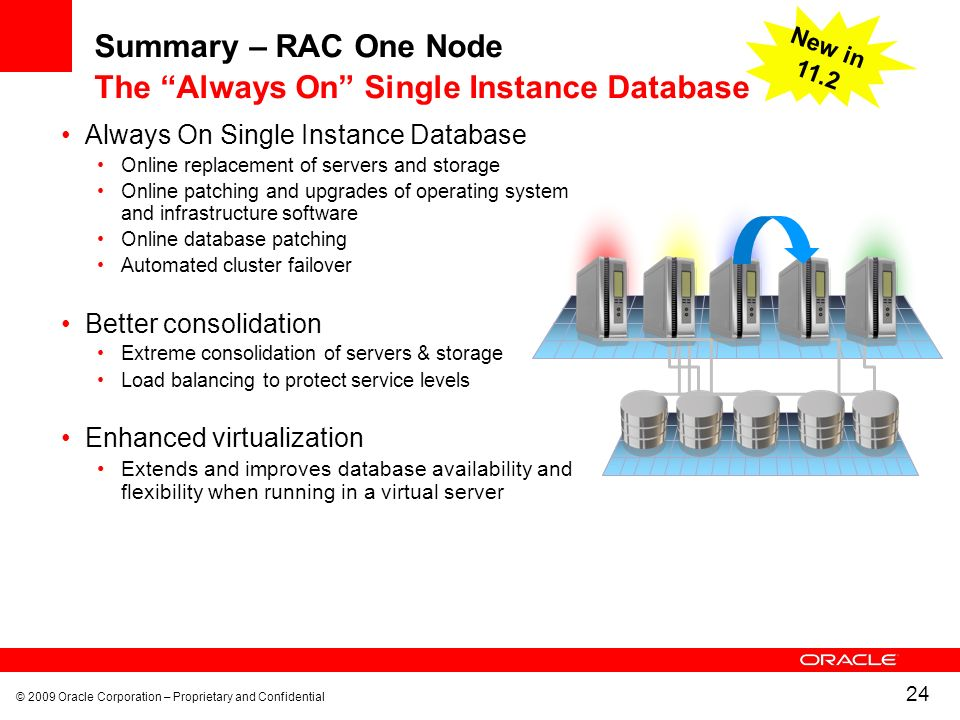© 2009 Oracle Corporation – Proprietary and Confidential 24 Summary – RAC One Node The Always On Single Instance Database Always On Single Instance Database Online replacement of servers and storage Online patching and upgrades of operating system and infrastructure software Online database patching Automated cluster failover Better consolidation Extreme consolidation of servers & storage Load balancing to protect service levels Enhanced virtualization Extends and improves database availability and flexibility when running in a virtual server New in 11.2