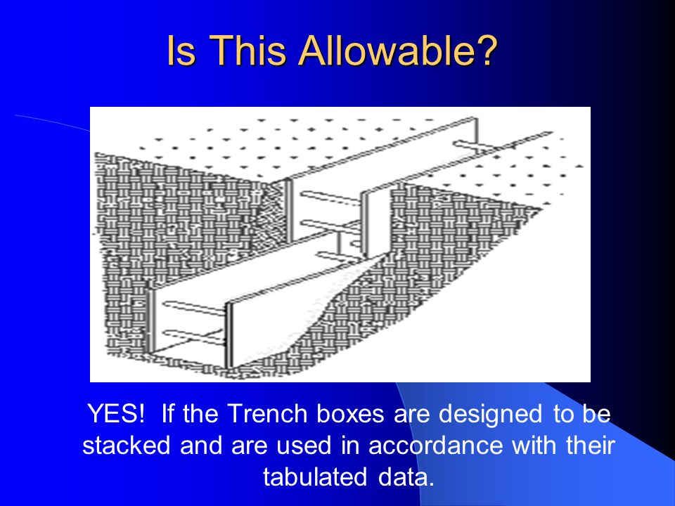 Is This Allowable? YES! If the Trench boxes are designed to be stacked and are used in accordance with their tabulated data.
