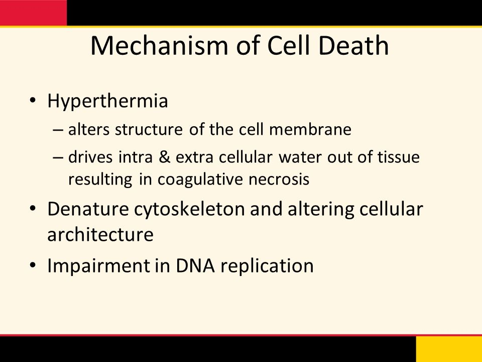 Mechanism of Cell Death Hyperthermia – alters structure of the cell membrane – drives intra & extra cellular water out of tissue resulting in coagulat