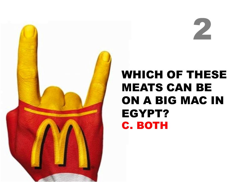 WHICH OF THESE MEATS CAN BE ON A BIG MAC IN EGYPT? C. BOTH 2