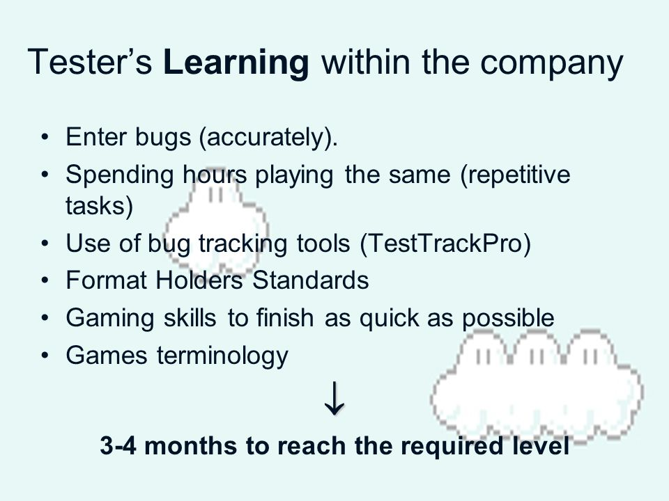 Testers Learning within the company Enter bugs (accurately).