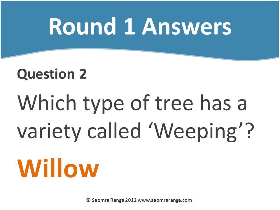 Round 1 Answers Question 2 Which type of tree has a variety called Weeping? Willow © Seomra Ranga 2012 www.seomraranga.com