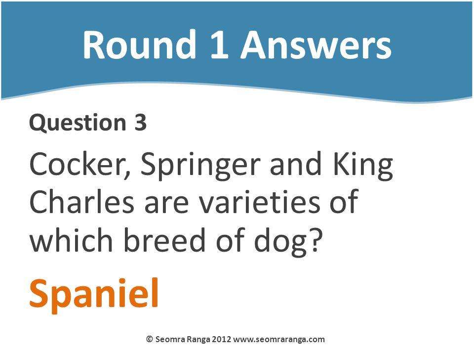Round 1 Answers Question 3 Cocker, Springer and King Charles are varieties of which breed of dog? Spaniel © Seomra Ranga 2012 www.seomraranga.com