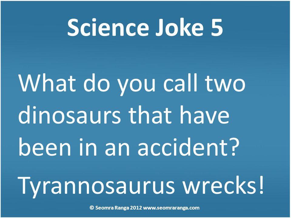 Science Joke 5 What do you call two dinosaurs that have been in an accident? Tyrannosaurus wrecks! © Seomra Ranga 2012 www.seomraranga.com