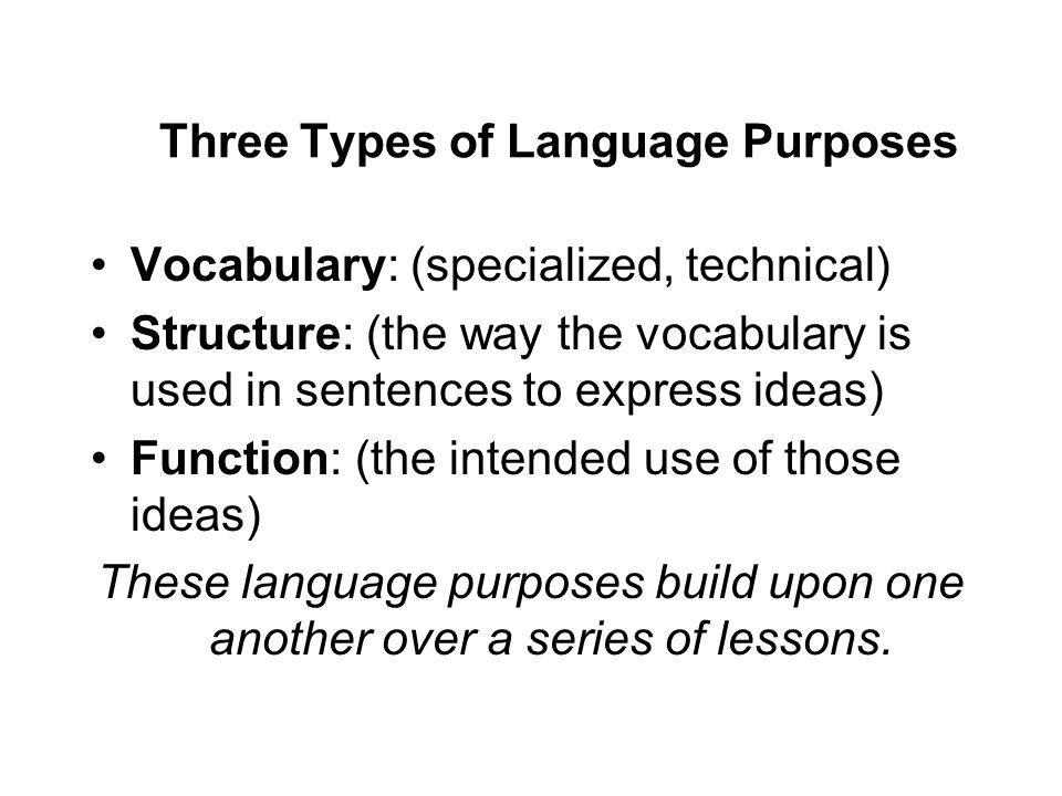 Three Types of Language Purposes Vocabulary: (specialized, technical) Structure: (the way the vocabulary is used in sentences to express ideas) Functi