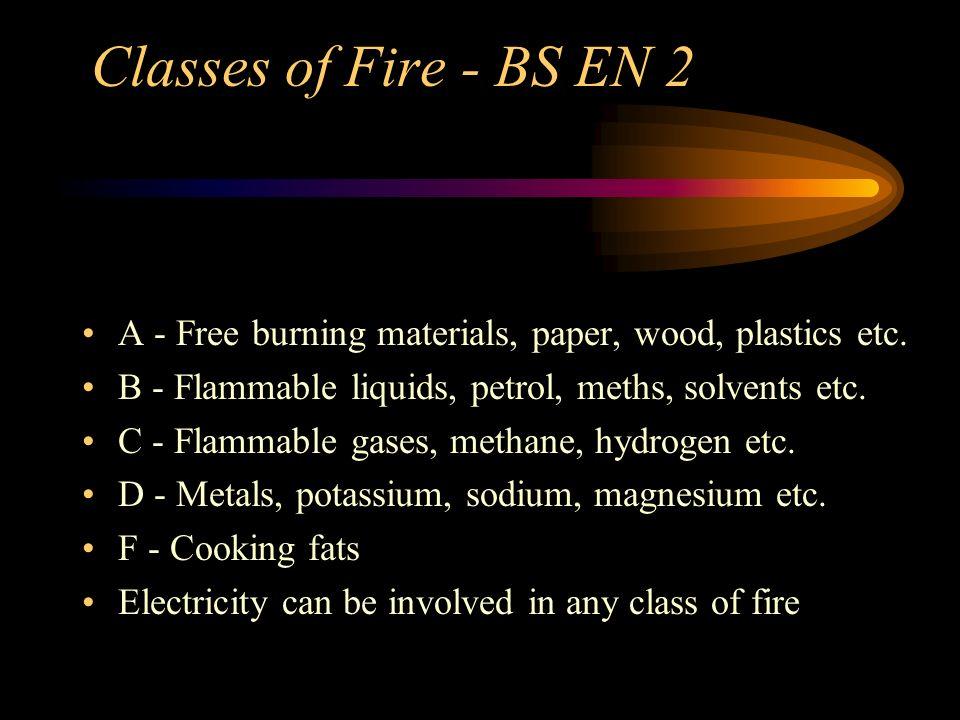 Classes of Fire - BS EN 2 A - Free burning materials, paper, wood, plastics etc. B - Flammable liquids, petrol, meths, solvents etc. C - Flammable gas