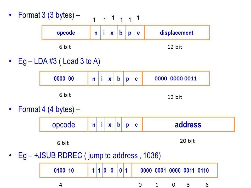 Format 3 (3 bytes) – Eg – LDA #3 ( Load 3 to A) Format 4 (4 bytes) – Eg – +JSUB RDREC ( jump to address, 1036) opcoden i x b p edisplacement 0000 00n