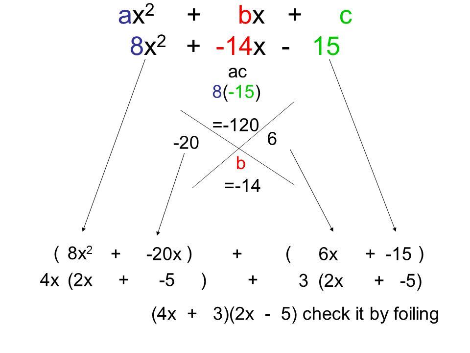 ( ) ax 2 + bx + c 8x 2 + -14x - 15 ac b 8(-15) =-120 =-14 -20 6 (4x + 3)(2x - 5) check it by foiling 8x 2 + -20x+ 6x+ -15 4x(2x + -5 ) + 3(2x + -5)