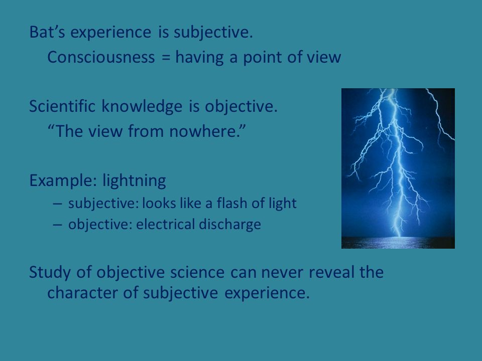 Bats experience is subjective. Consciousness = having a point of view Scientific knowledge is objective. The view from nowhere. Example: lightning – s