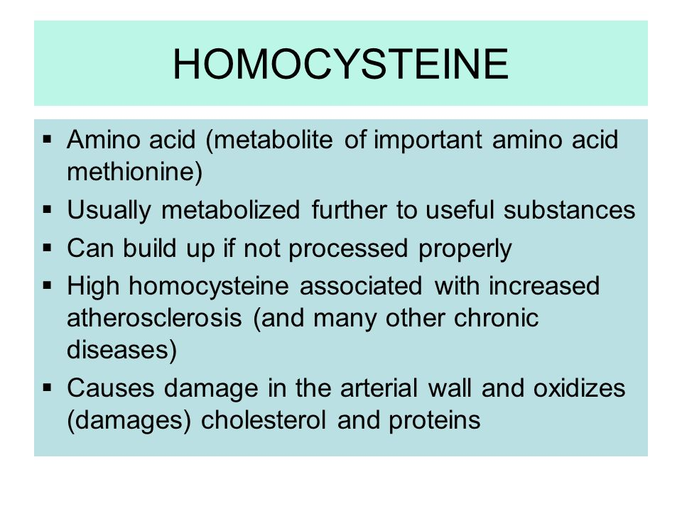 HOMOCYSTEINE Amino acid (metabolite of important amino acid methionine) Usually metabolized further to useful substances Can build up if not processed