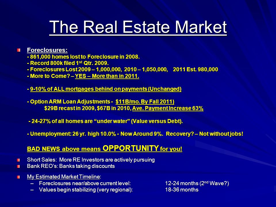 The Real Estate Market Foreclosures: - 861,000 homes lost to Foreclosure in 2008. - Record 800k filed 1 st Qtr. 2009. - Foreclosures Lost 2009 – 1,000