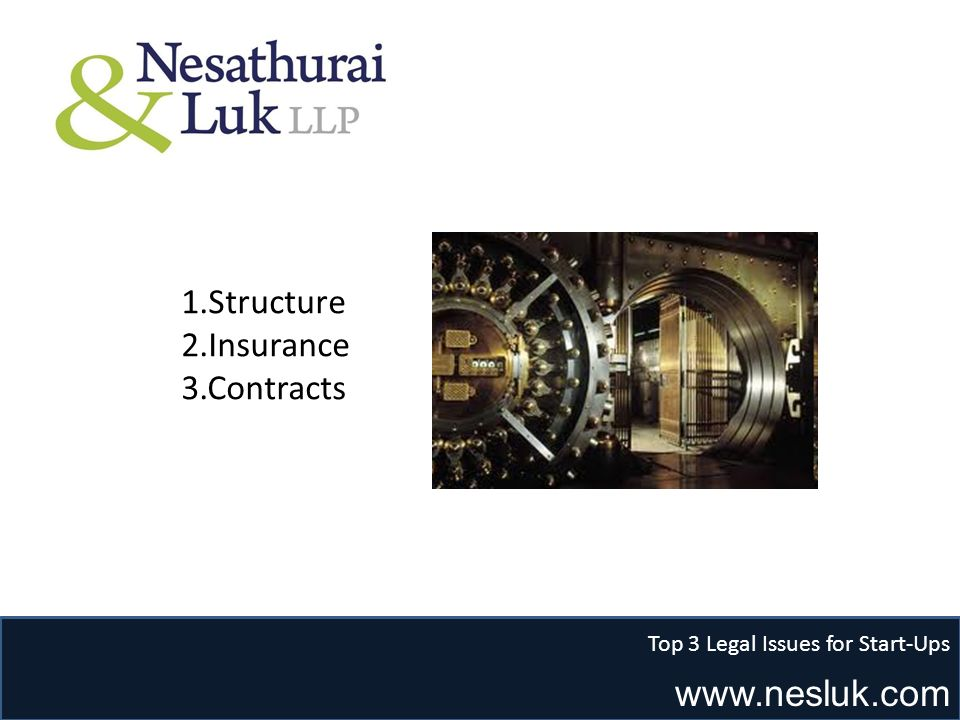 www.nesluk.com Top 3 Legal Issues for Start-Ups 1.Structure 2.Insurance 3.Contracts