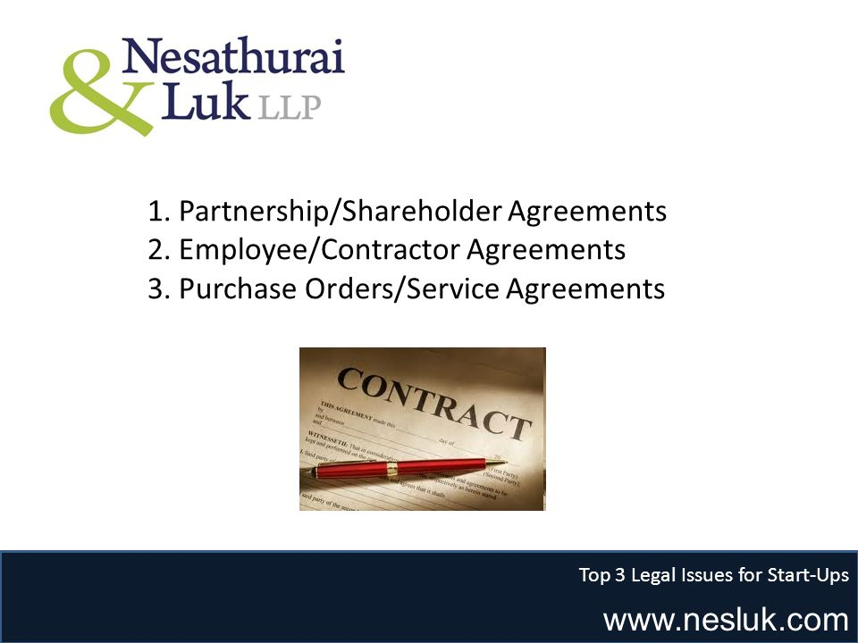 www.nesluk.com Top 3 Legal Issues for Start-Ups 1. Partnership/Shareholder Agreements 2. Employee/Contractor Agreements 3. Purchase Orders/Service Agr