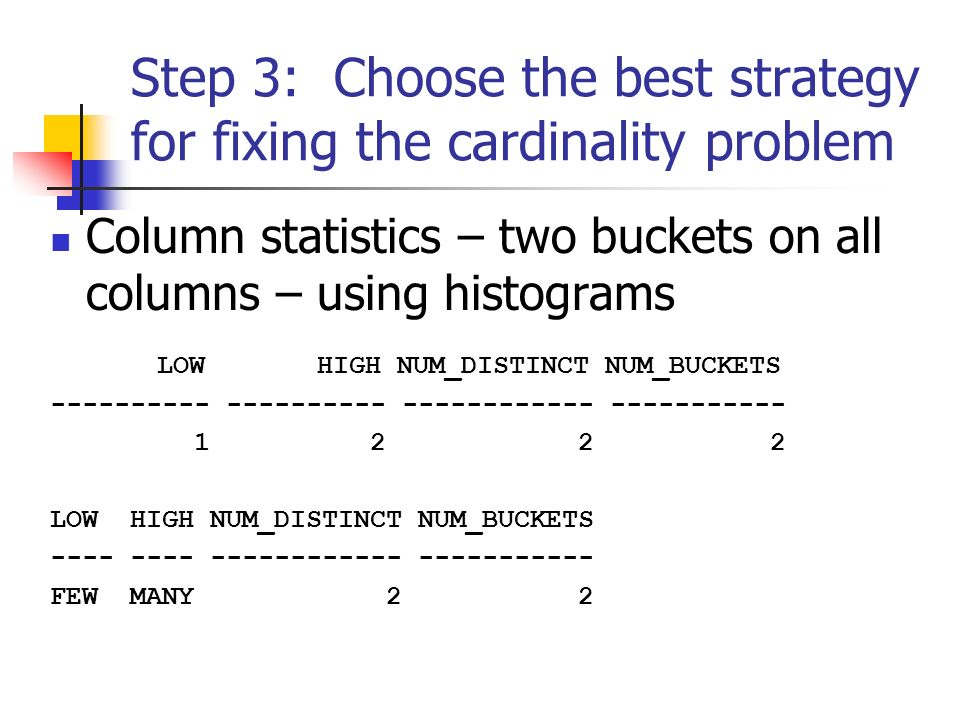 Step 3: Choose the best strategy for fixing the cardinality problem Column statistics – two buckets on all columns – using histograms LOW HIGH NUM_DISTINCT NUM_BUCKETS ---------- ---------- ------------ ----------- 1 2 2 2 LOW HIGH NUM_DISTINCT NUM_BUCKETS ---- ---- ------------ ----------- FEW MANY 2 2