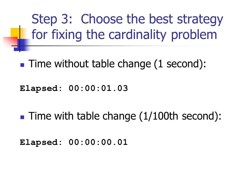 Step 3: Choose the best strategy for fixing the cardinality problem Time without table change (1 second): Elapsed: 00:00:01.03 Time with table change (1/100th second): Elapsed: 00:00:00.01