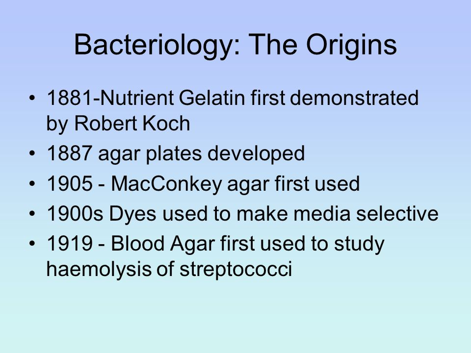 Bacteriology: The Origins 1881-Nutrient Gelatin first demonstrated by Robert Koch 1887 agar plates developed 1905 - MacConkey agar first used 1900s Dy