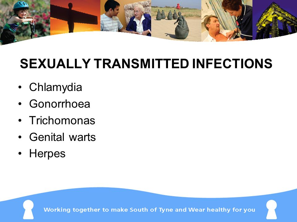 SEXUALLY TRANSMITTED INFECTIONS Chlamydia Gonorrhoea Trichomonas Genital warts Herpes