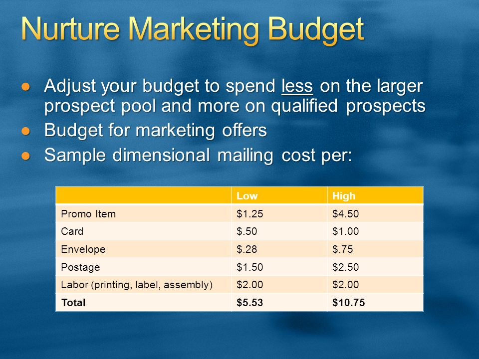 Adjust your budget to spend less on the larger prospect pool and more on qualified prospectsAdjust your budget to spend less on the larger prospect pool and more on qualified prospects Budget for marketing offersBudget for marketing offers Sample dimensional mailing cost per:Sample dimensional mailing cost per: LowHigh Promo Item$1.25$4.50 Card$.50$1.00 Envelope$.28$.75 Postage$1.50$2.50 Labor (printing, label, assembly)$2.00 Total$5.53$10.75