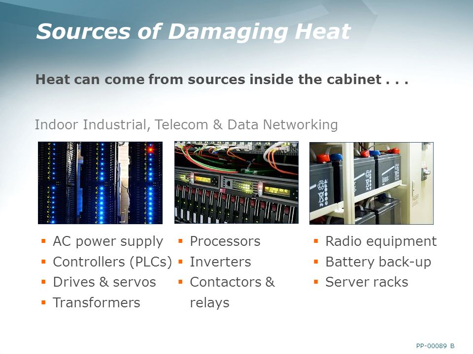 PP B Sources of Damaging Heat Heat can come from sources inside the cabinet...