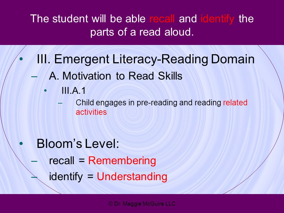 The student will be able recall and identify the parts of a read aloud. III. Emergent Literacy-Reading Domain –A. Motivation to Read Skills III.A.1 –C