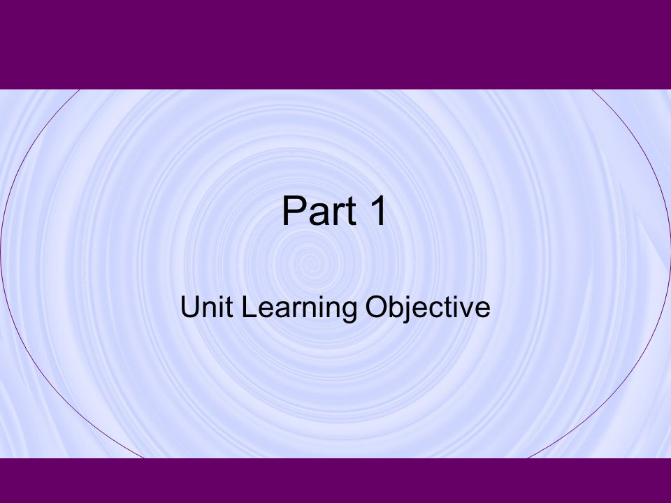 Part 1 Unit Learning Objective